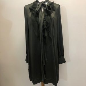 GIVENCHY Green Silk Ruffle Dress Size 44/ Medium